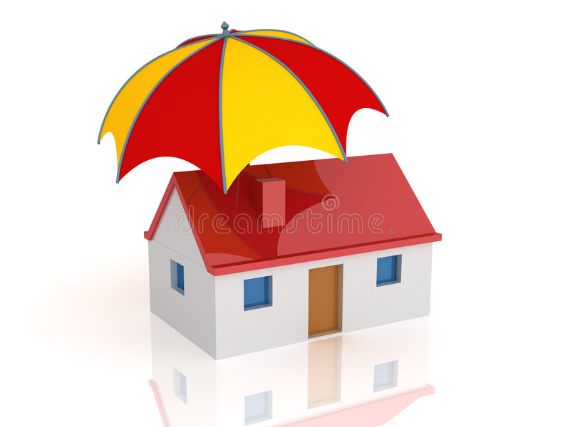 Casa y paraguas stock de ilustración