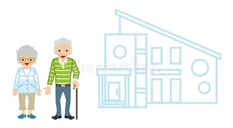 Casa y pares mayores - bastón que camina ilustración del vector