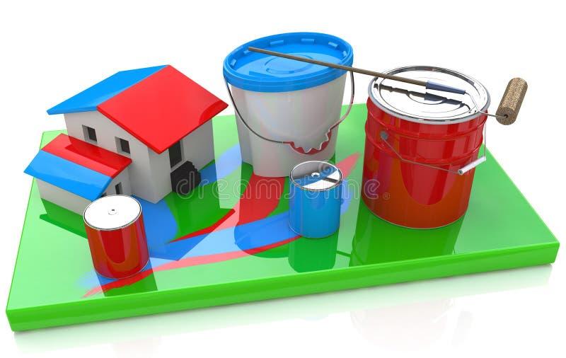 Casa y pintura stock de ilustración