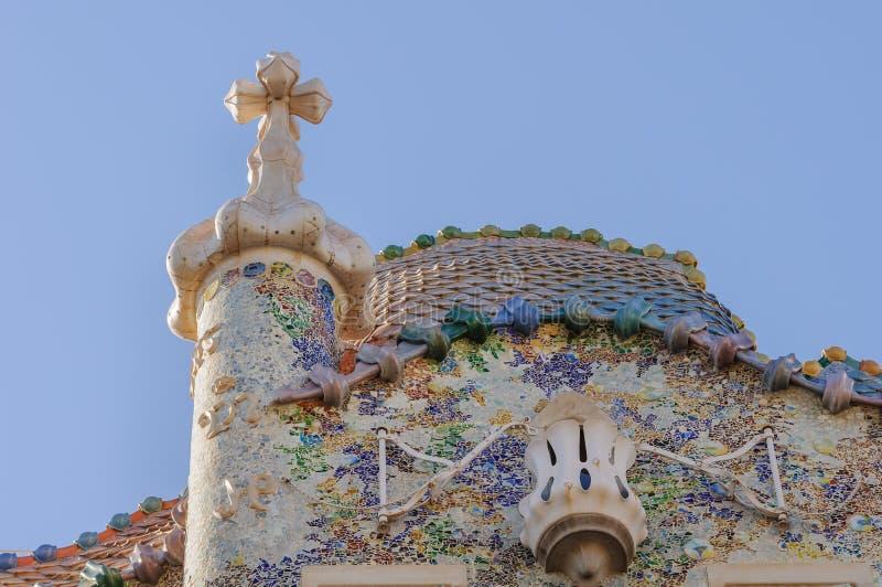 CasaBattlo facade och lampglas av Antony Gaudi royaltyfri fotografi