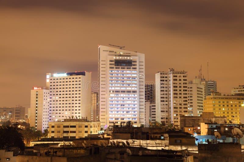 Casablanca bij nacht stock afbeeldingen