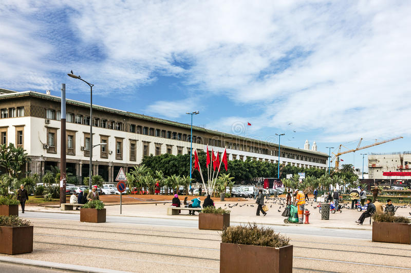 Casablanca city in Morocco, town squre.  royalty free stock photography