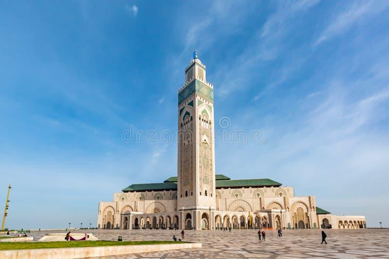 Casablanca Marocko-Februari 16,2018: Den Hassan II moskén är en moské i Casablanca, Marocko arkivfoto