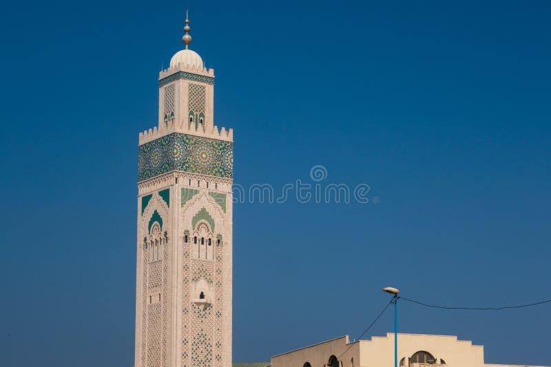 Casablanca Marocko - Oktober 29, 2017: sikt av Hassan minar ii arkivfoton