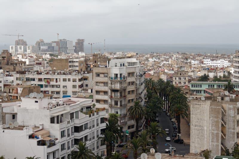 Casablanca Marocko, sikt från domkyrkan arkivfoto