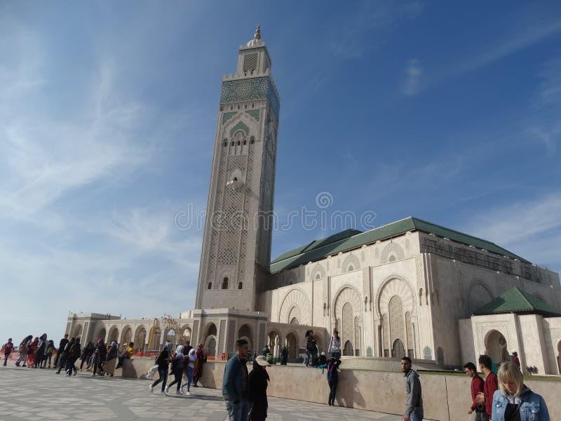 Casablanca, Marokko Moskee Hassan die II bouwen royalty-vrije stock foto's