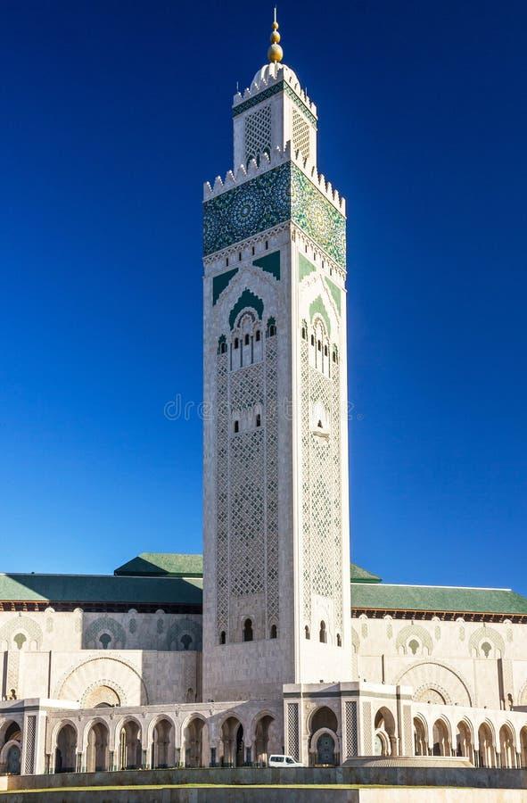 Casablanca, Marokko Moskee Hassan die II bouwen stock afbeelding