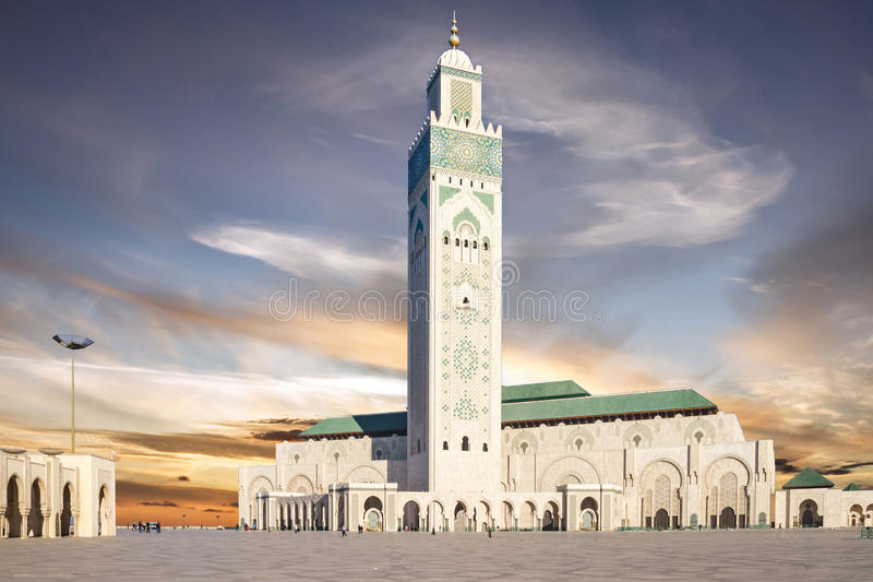 Casablanca, Marokko Moskee Hassan die II bouwen stock foto's