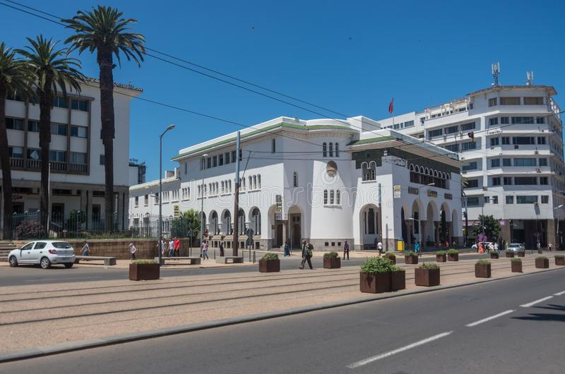 Historical building in art nouveau in Casablanca downtown, central post office. Morocco royalty free stock photo