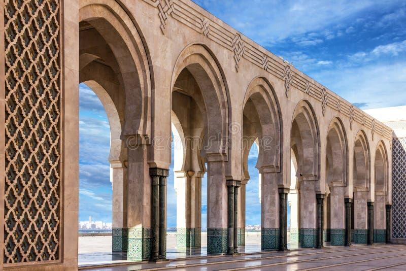 casablanca Morocco Meczetowa Hassan II arkady galeria obrazy royalty free