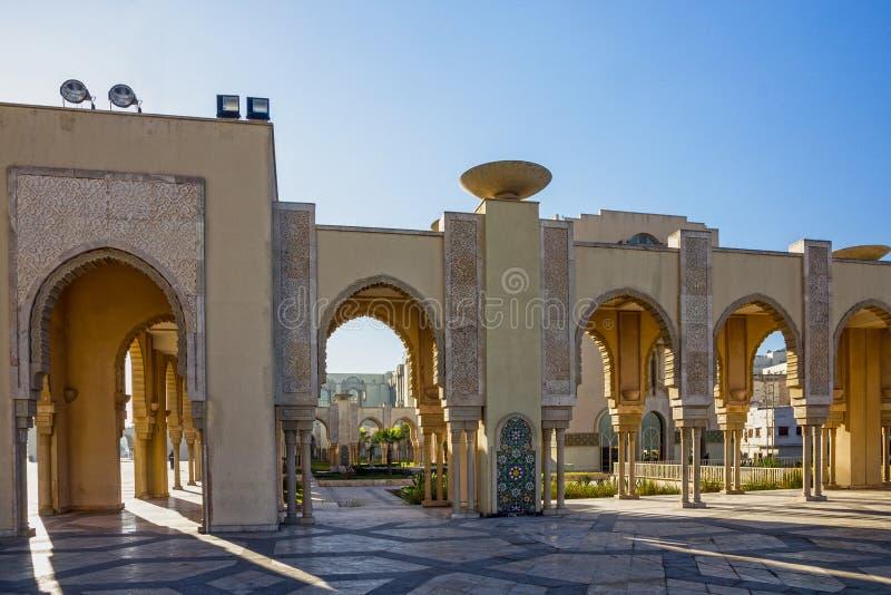 Casablanca in Morocco. Mosque Hassan II. Arcade gallery royalty free stock image