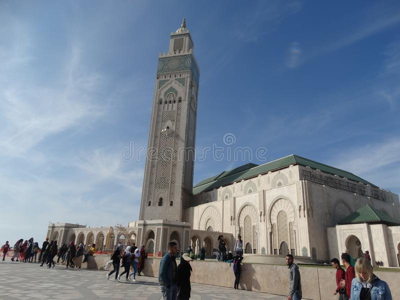 Casablanca, Morocco. Mosque Hassan II building. The biggest mosque in Africa royalty free stock photos