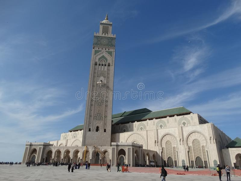 Casablanca, Morocco. Mosque Hassan II building. The biggest mosque in Africa royalty free stock photography
