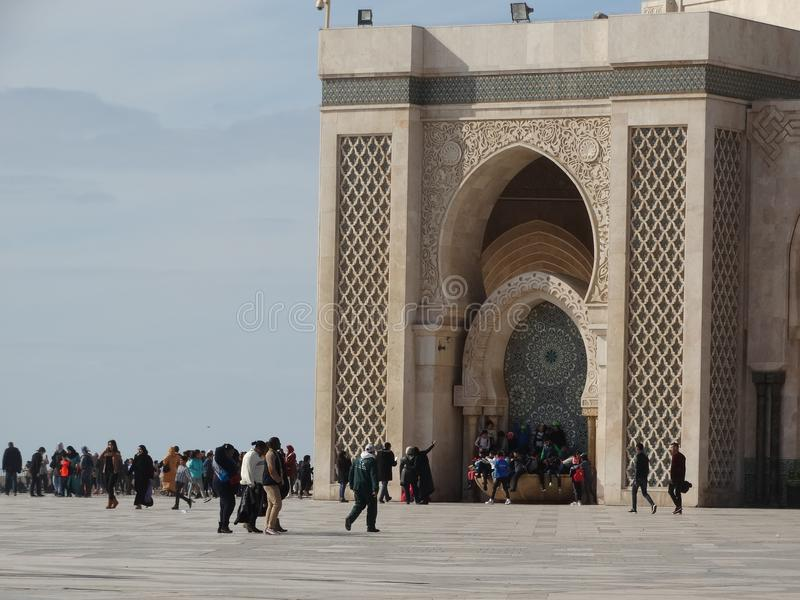 Casablanca, Morocco. Mosque Hassan II building. The biggest mosque in Africa stock images