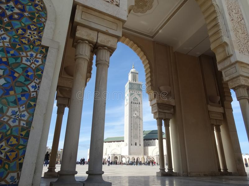 Casablanca, Morocco. Mosque Hassan II building. The biggest mosque in Africa royalty free stock image