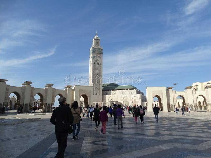 Casablanca, Morocco. Mosque Hassan II building. The biggest mosque in Africa royalty free stock photo