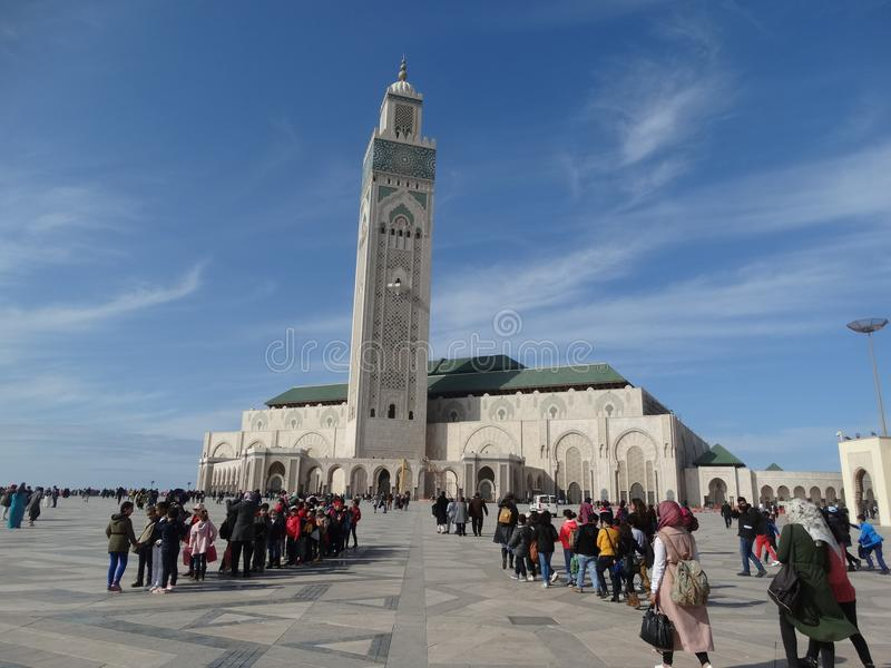Casablanca, Morocco. Mosque Hassan II building. The biggest mosque in Africa stock photography