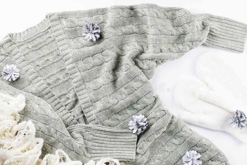 Casaco de lã macio, morno, acolhedor, lenço e mitenes com os cones de abeto no fundo branco Conceito da forma do inverno foto de stock royalty free