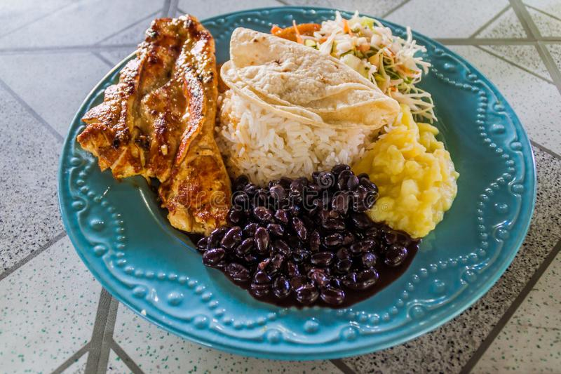 Casado - традиционная еда в Косте Ri стоковое фото rf