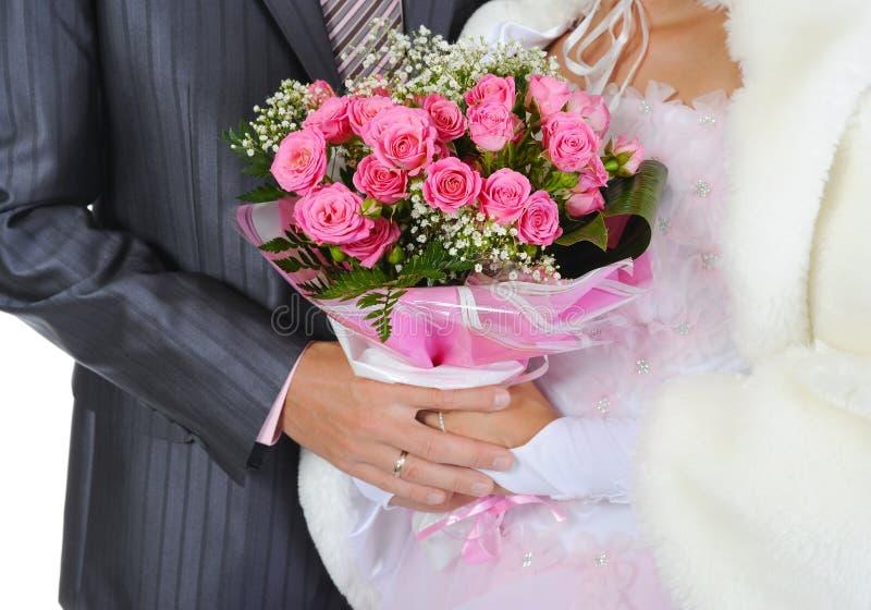 Casado con un ramo foto de archivo libre de regalías