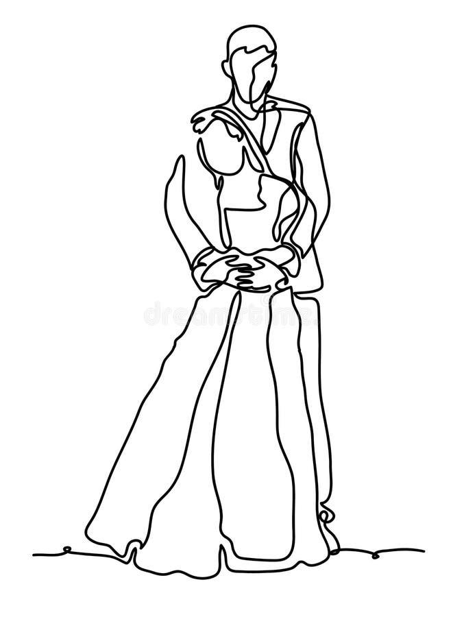 Casal alegre A lápis desenho contínuo Isolado no fundo branco r ilustração do vetor