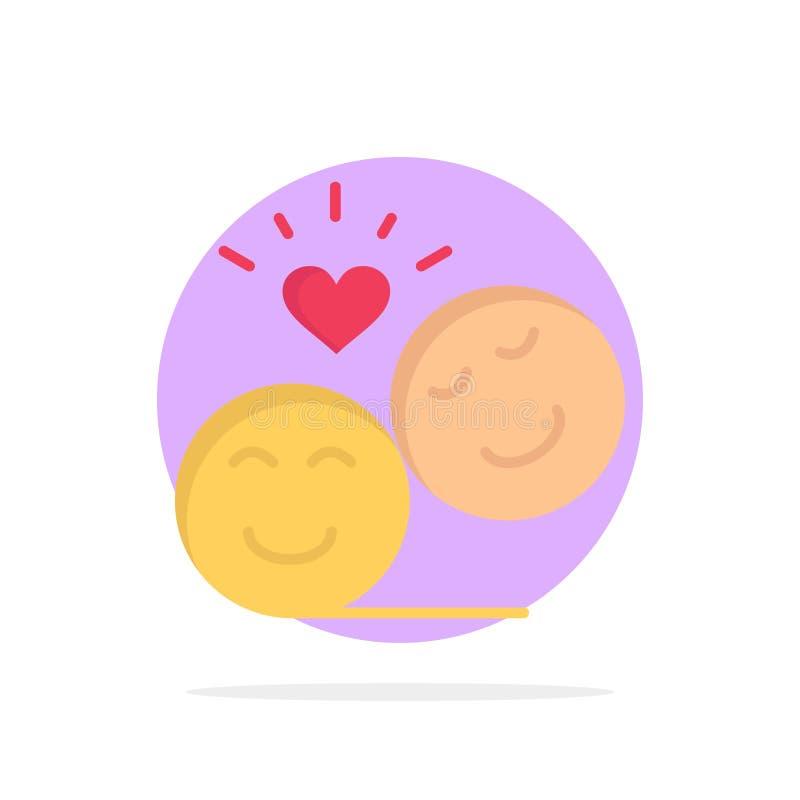 Casal, Avatar, Rostos Sorridentes, Emojis, Círculo Abstrato de Valentine Ícone de Cor Plana ilustração royalty free