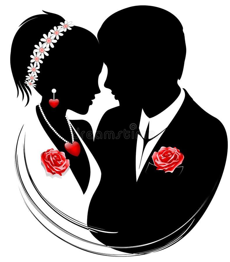 Casal dos casamentos ilustração stock