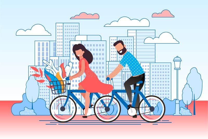 Casal dos desenhos animados que dá um ciclo através da rua da cidade ilustração stock