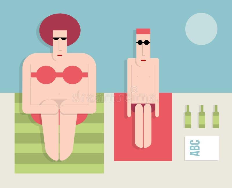 Casal na praia ilustração royalty free