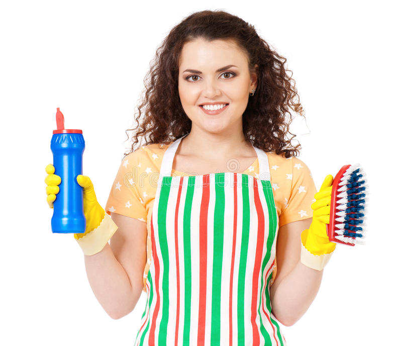 Casalinga con i rifornimenti di pulizia immagine stock