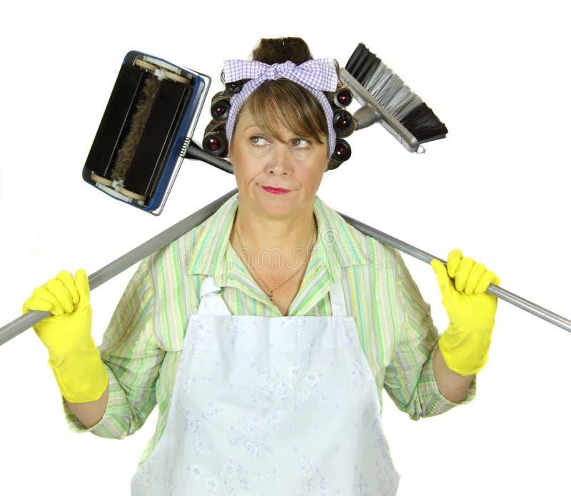 Casalinga Frumpy di pulizia fotografie stock