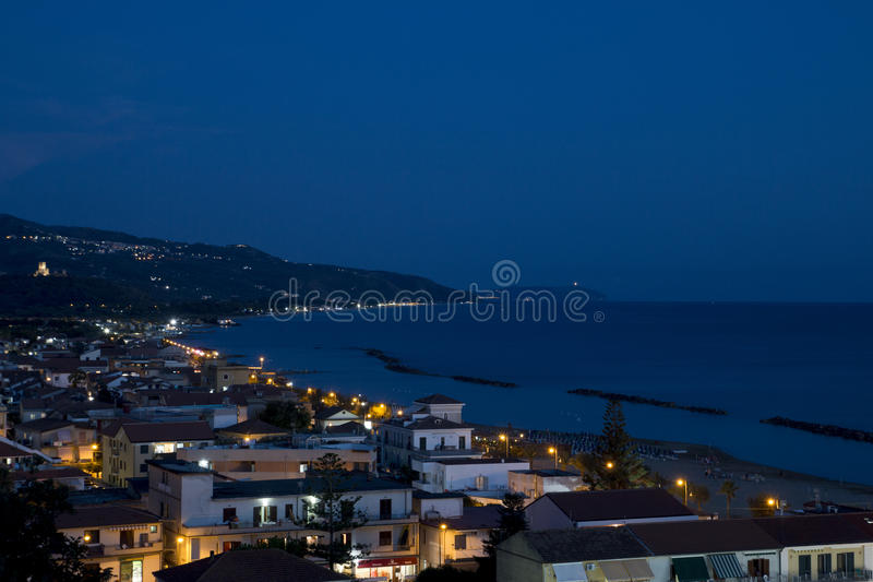 Casalvelino by night stock images