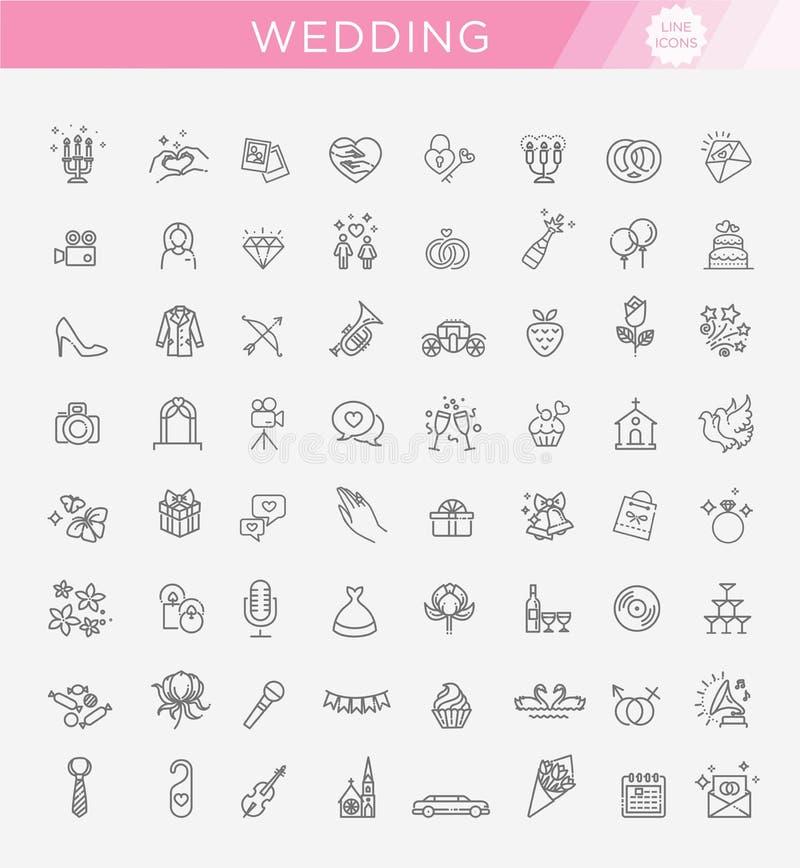 Casamento ajustado do ícone da Web do esboço ilustração stock