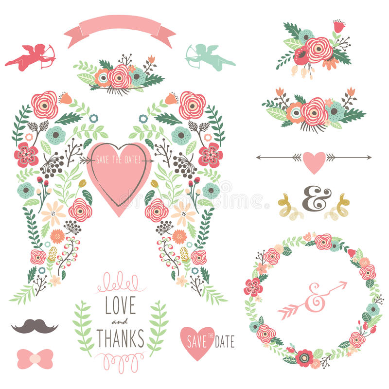 Casamento Angel Wing Vintage Flowers Wreath ilustração stock