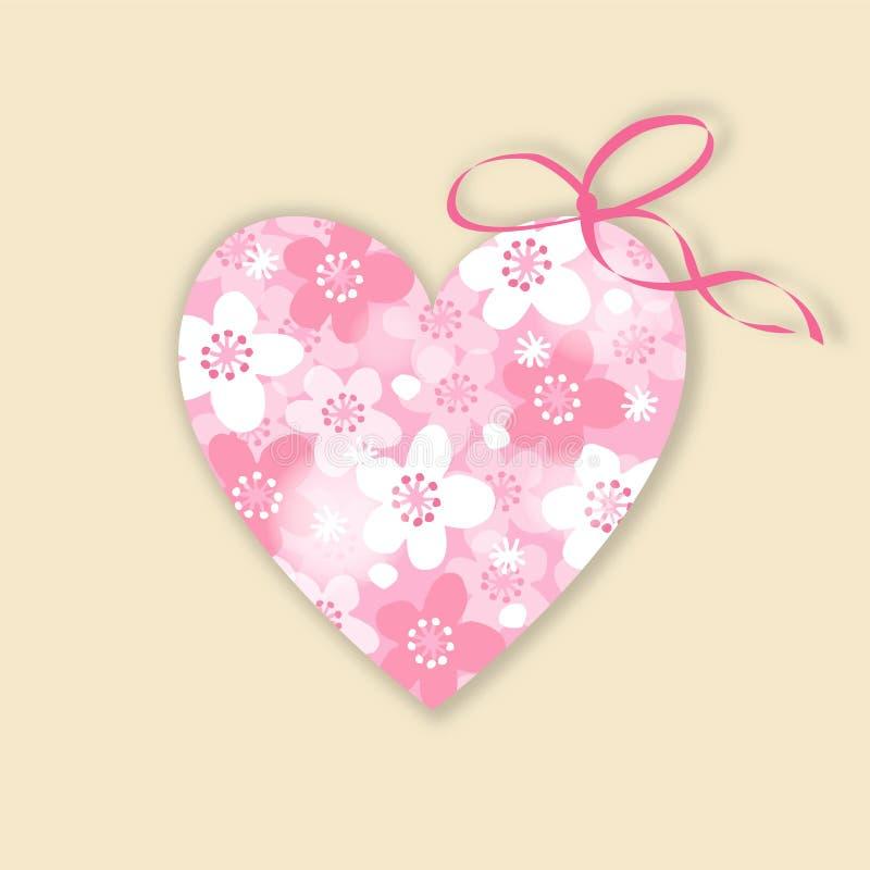 Casamento bonito, cartão de aniversário, convite com coração floral ilustração stock