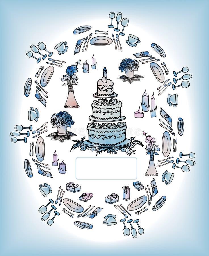 Casamento colocado cartão do convite e tabela festiva fotos de stock royalty free