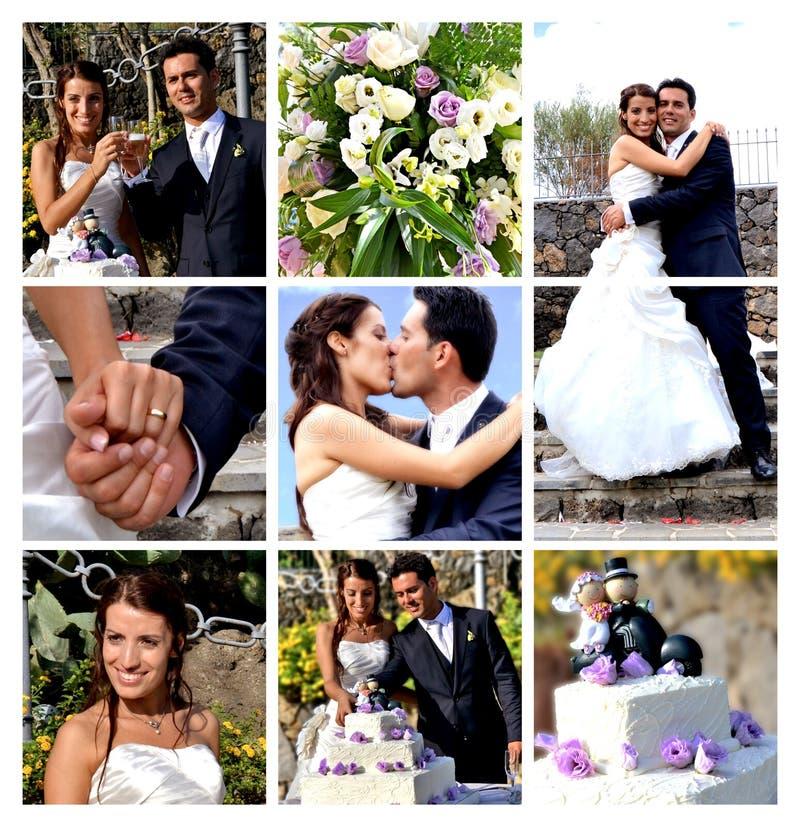 Casamento da colagem fotografia de stock
