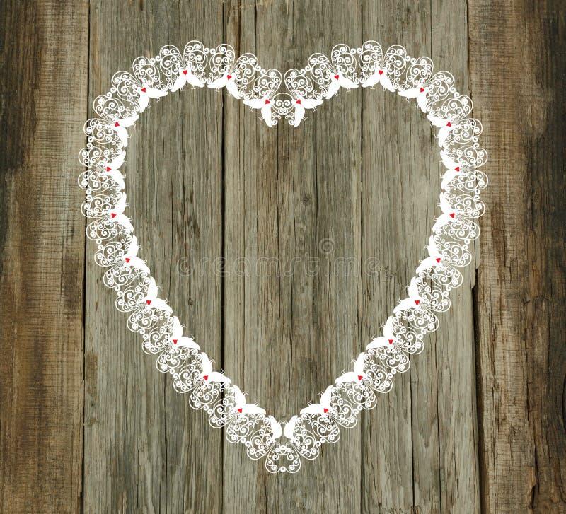 Casamento de madeira do dia de Valentim do fundo do teste padrão do laço fotografia de stock royalty free