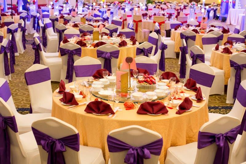 Casamento do chinês tradicional - salão do banquete imagens de stock royalty free