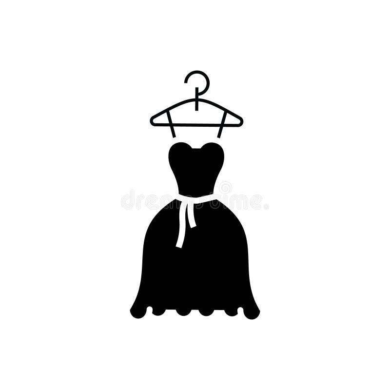Casamento do vestido - ícone do vestido de bola, ilustração do vetor, sinal preto no fundo isolado ilustração stock