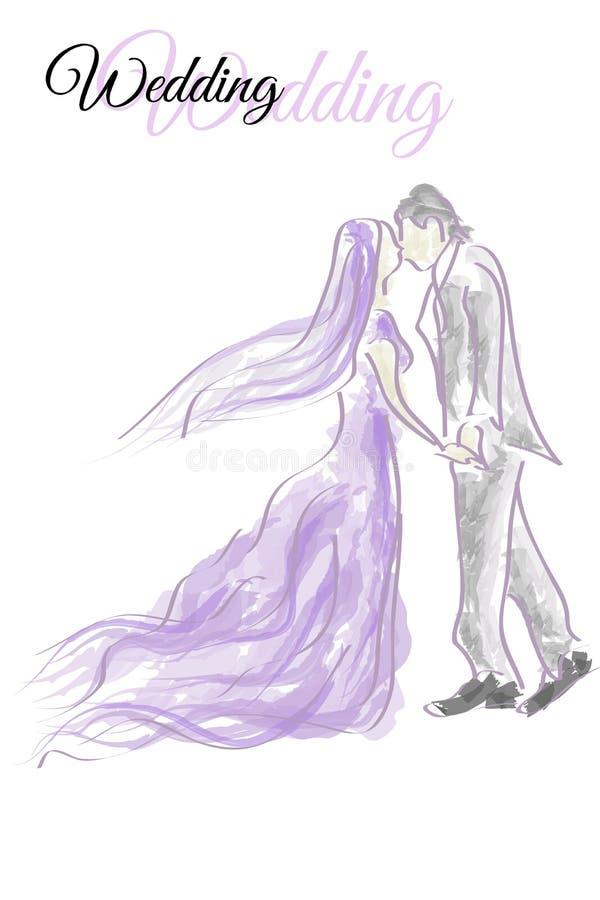 Casamento do vetor no amor ilustração royalty free