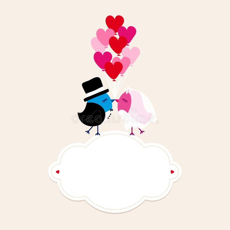 Casamento dos pássaros no bege dos balões do coração da terra arrendada nove da nuvem ilustração royalty free