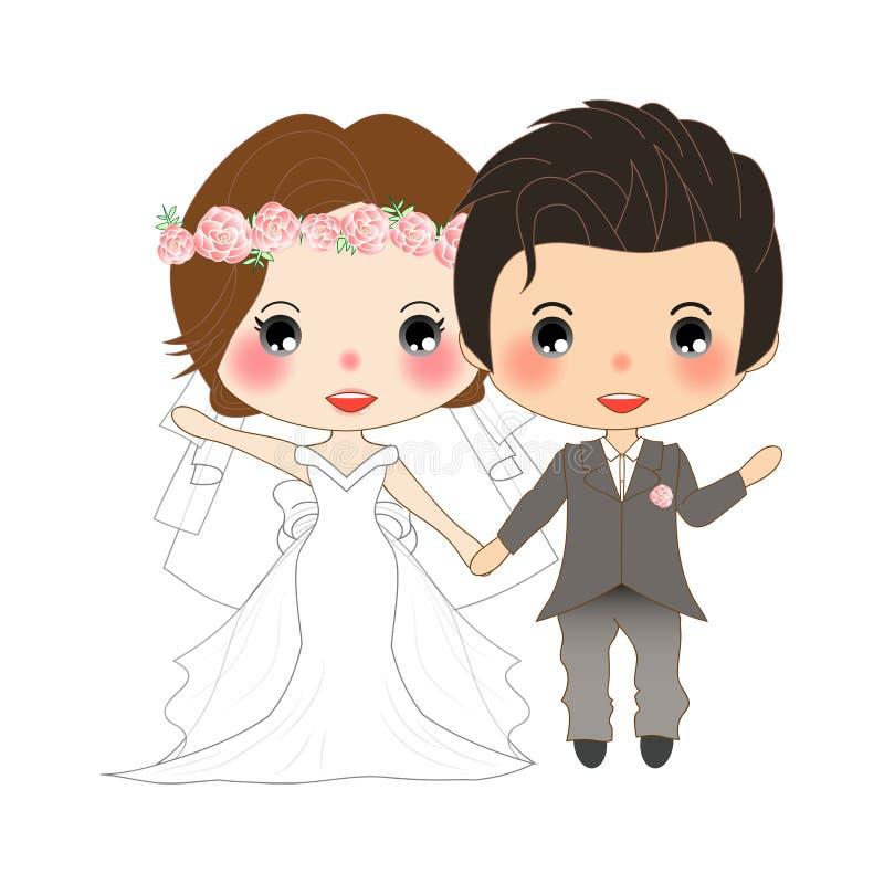 Casamento dos pares Mulher bonito no vestido da noiva e no homem considerável no noivo Tuxedo Vetor Ilustração ilustração royalty free