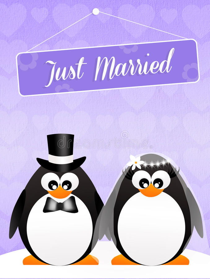 Casamento dos pinguins ilustração royalty free