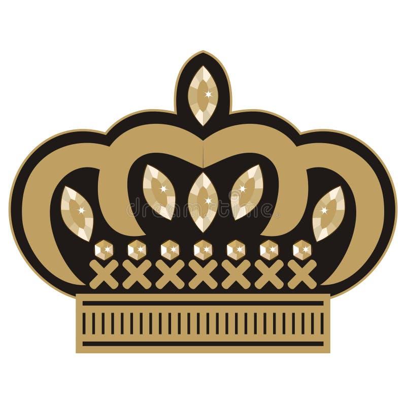 Casamento fêmea do ícone da tiara do bordado da coroa com cristais de rocha ilustração do vetor
