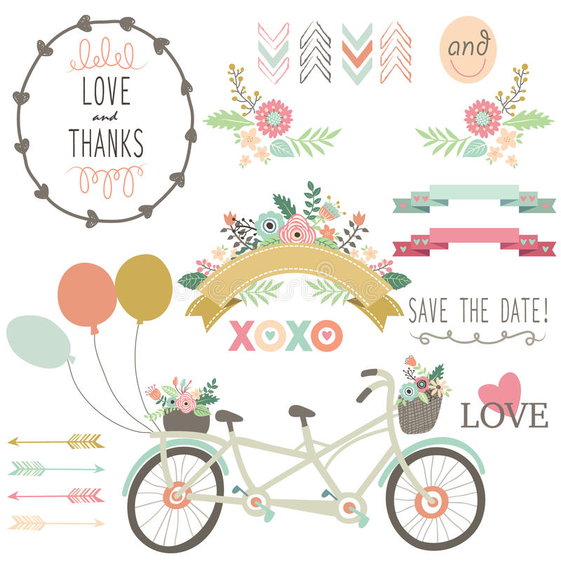 Casamento Flora Vintage Bicycles Elements ilustração stock