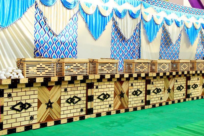 Casamento indiano Instalação do banquete, fotografia de stock royalty free