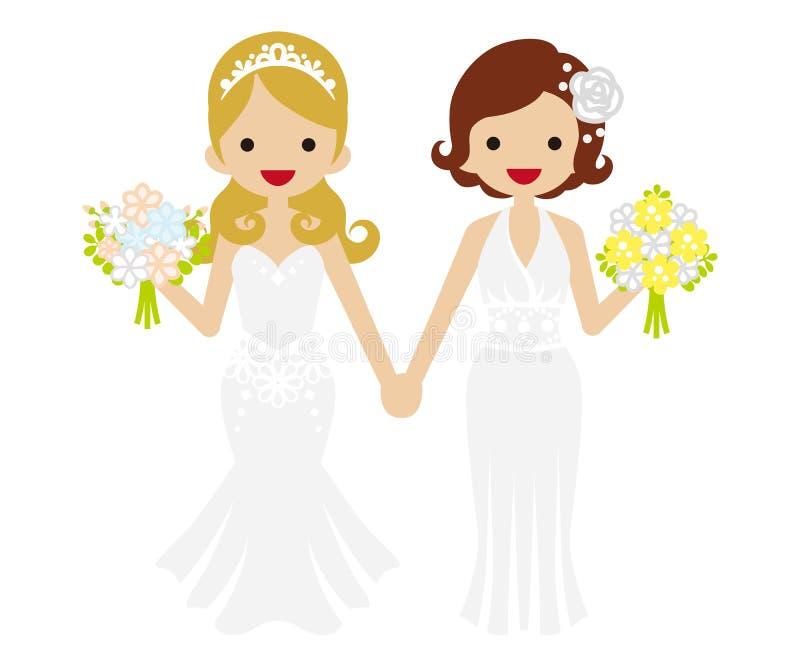 Casamento - lésbica - cabelo e Tiara Bride sacudidos ilustração royalty free