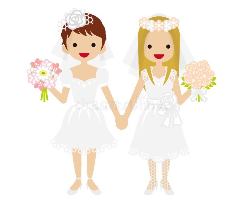 Casamento - lésbica - mini saia Bride-EPS10 ilustração stock