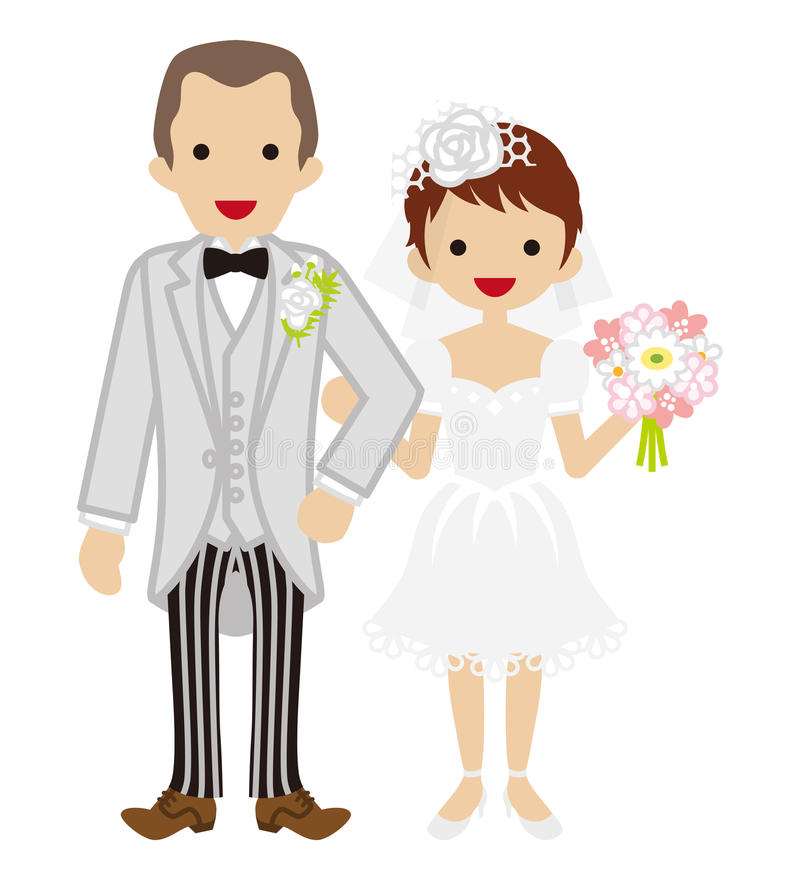 Casamento - par heterossexual - cabelo curto Bride-EPS10 ilustração do vetor